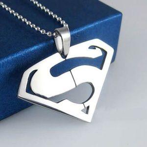 Womens/Men Superman Logo Charm Pendant Necklace
